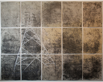 Big City (lit room) 2014- 2015 Intaglio, graphite and photoluminescent pigment on paper.