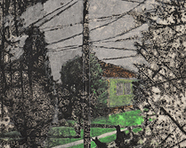 Street View 2am (lit room) 2014 Intaglio, graphite, pastel and photoluminescent pigment on paper.
