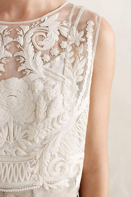 Embroidered sheer reference from the Bride, but with much less embroidery coverage on the final garment.