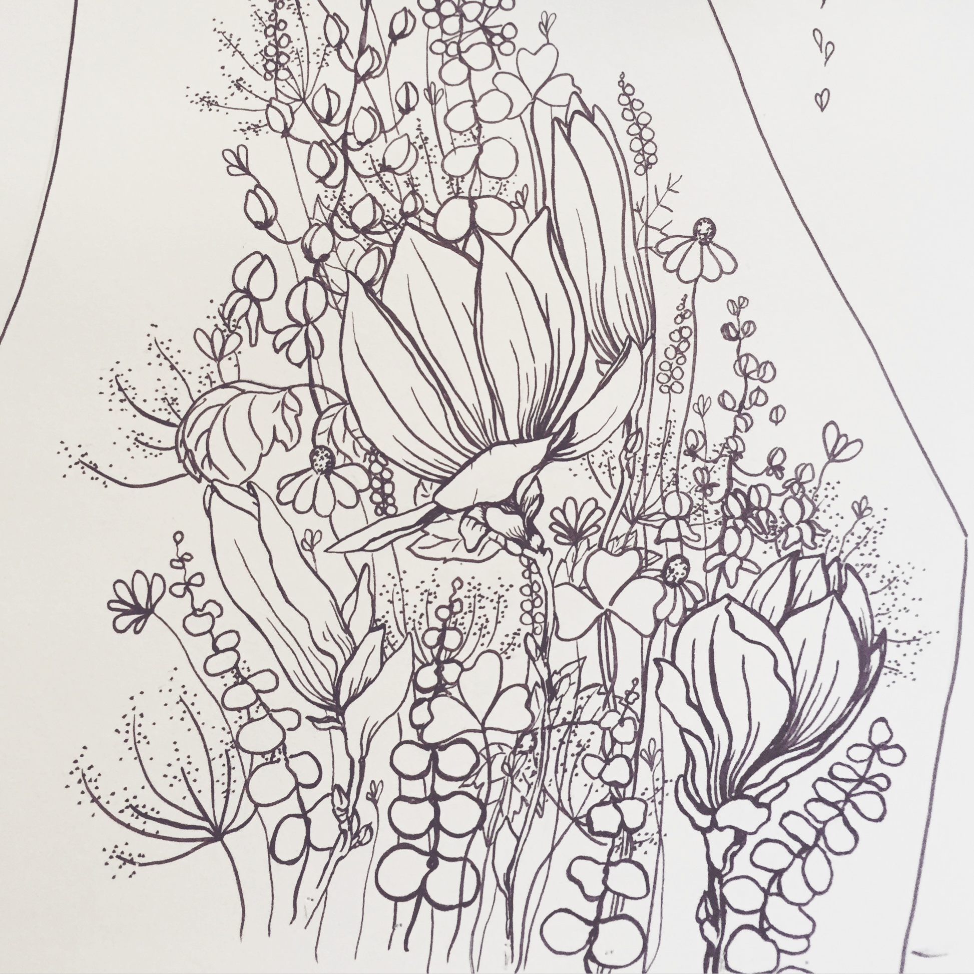 The custom illustration to fit within the garment pattern piece. Designed to be mirrored with the front and the back being different designs.
