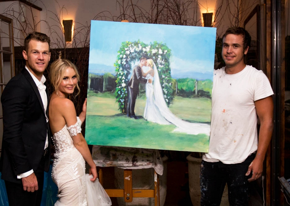 Shakey's first live painting at the wedding of Annabel and Robbie Gray