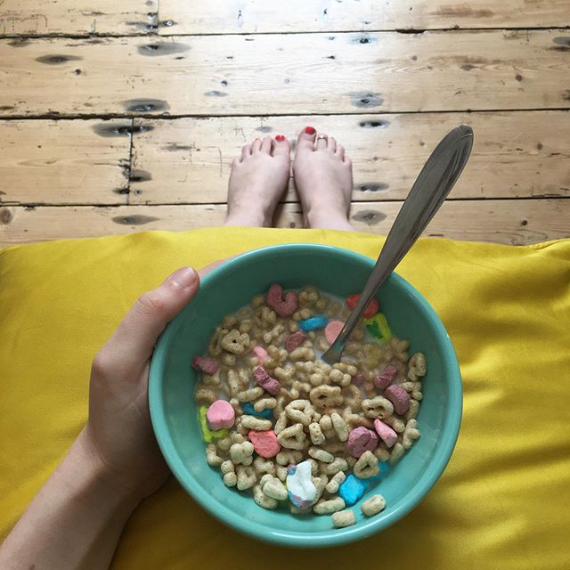 Breakfast of champions 🌈💗☘️ Lucky Charms never fail to make me feel like a kid again. (They do make the milk go kind-of blue though, but I'd rather not think about that) #luckycharmscereal #magicallydelicious #bestbreakfast