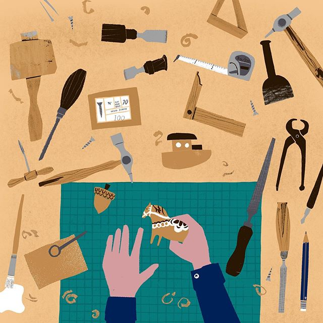 🛠 Making, making, making ⚒ #illustration #cutouts #tools #workshop #woodworkingtools #oneidrewearlier