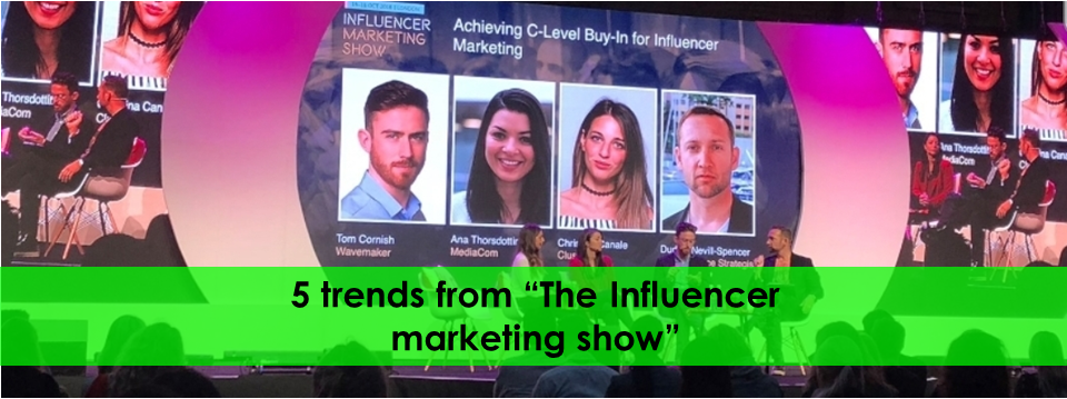 Main Stage at the Influencer Marketing show at Old Billingsate, Oct 15, 2018. L to R Tom Cornish, Christina Canale, Ana Thotsdotir, Dudley Nevill-Spencer (Author)