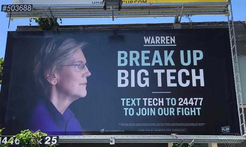 "U.S Democratic Senator Elizabeth Warrens rallying cry to ""Break-up big tech"" #breakupbigtech"