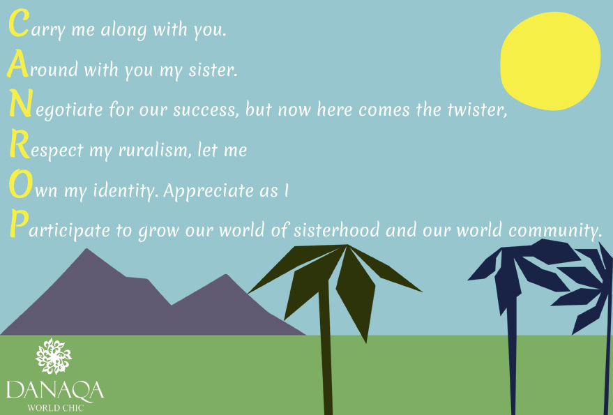 A poem written by a participant of a Danaqa ID workshop, developing opportunities for rural Caribbean women