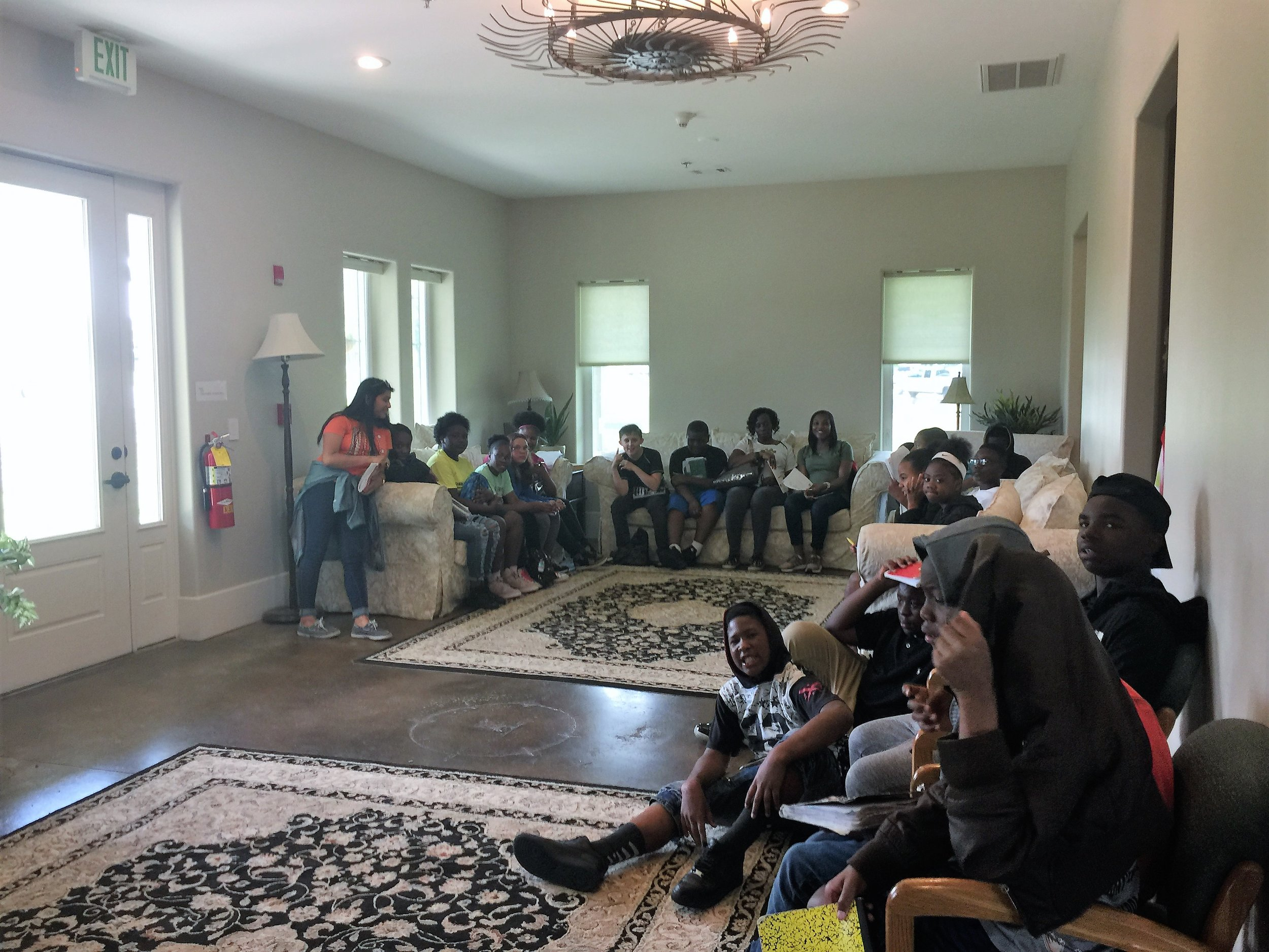 Over 200 sixth graders from Valdosta Middle visited UGA Tifton, including a stop at the Future Farmstead House