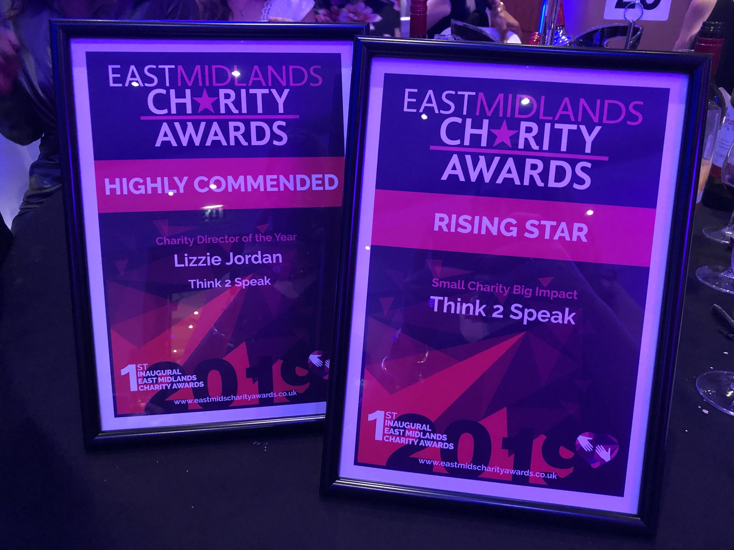 East Midlands Charity Awards - Think2Speak and Lizzie Jordan winners