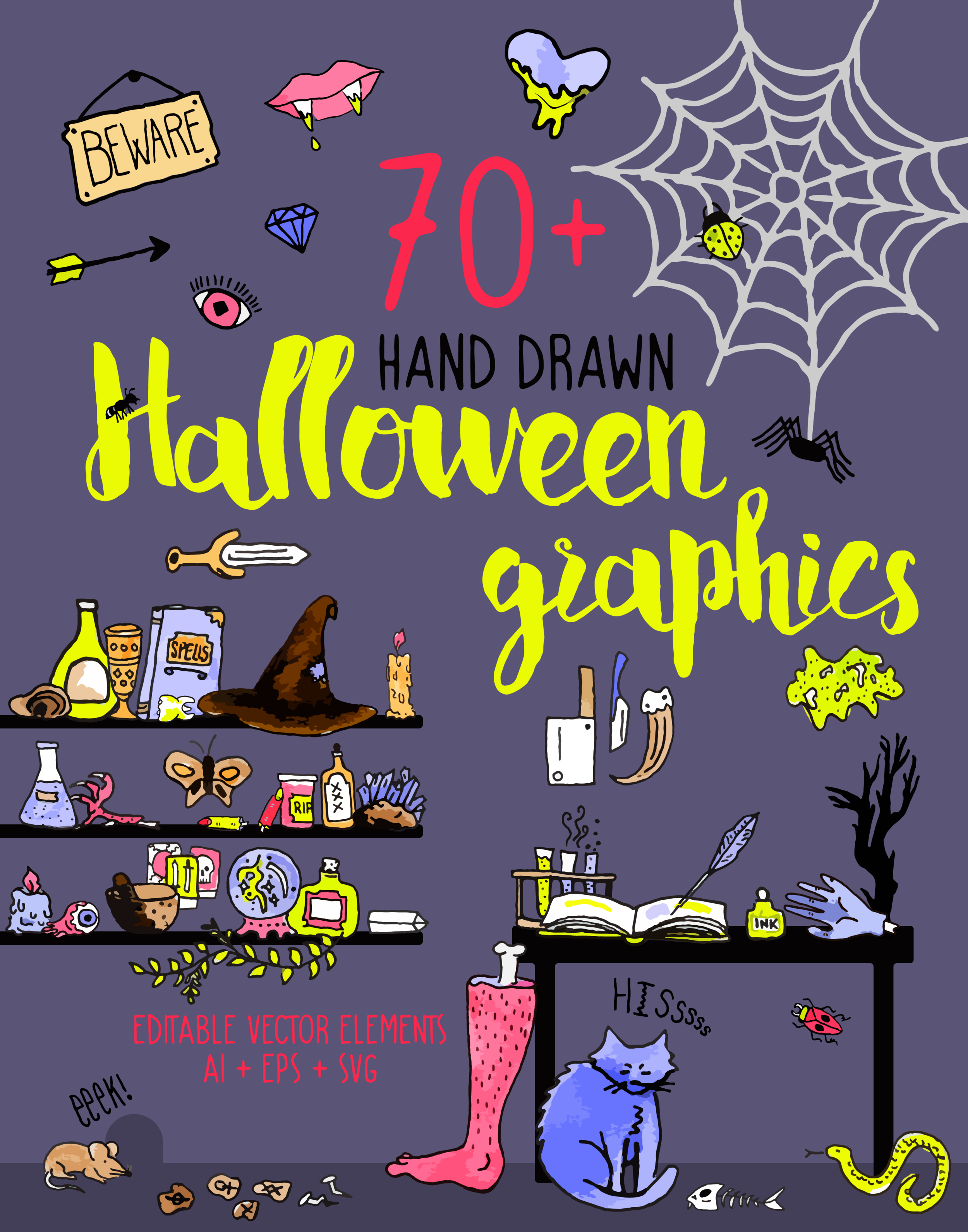 Halloween Graphics // $8 - 70+ Hand-drawn vectorized elements! Enjoy these spooky illustrations for Halloween!