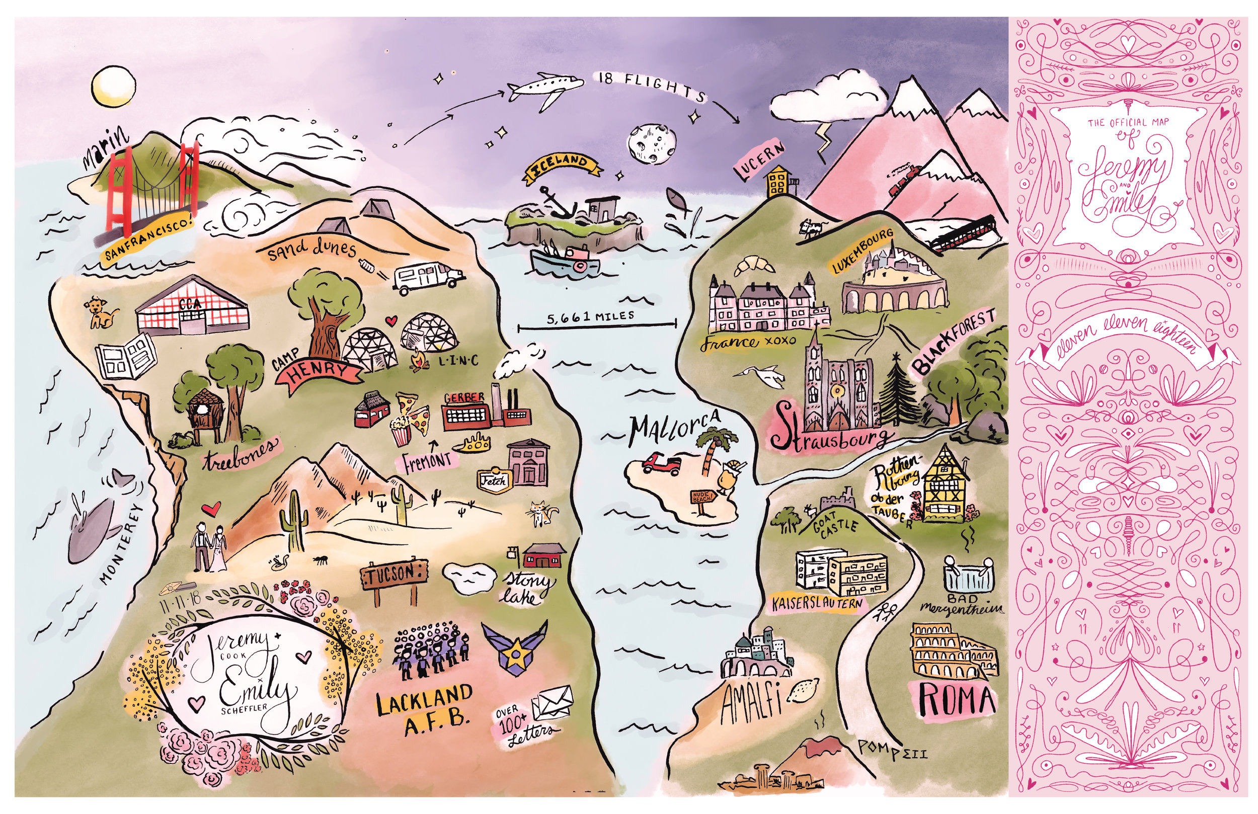 Hand-illustrated map showing the world-travelling adventures of the couple!