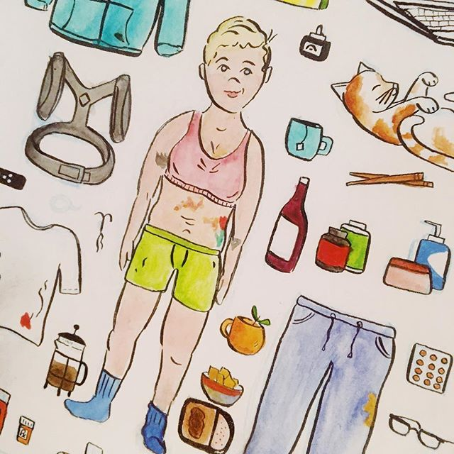 Illustration of my late-20s starter pack- featuring meatloaf, dressing for comfort, stress rash, posture brace, and my BFF #wine . . . . #illustration #illustrator #designer #late20s #sweatpants #watercolor #ink #cartoon #doodle #cats