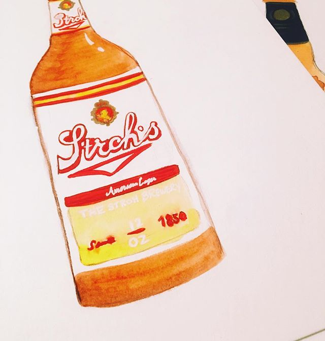 15 down, 14 to go . . . . #illustrator #illustration #designer #design #package #packagedesign #beer #strohs #watercolor #gouche