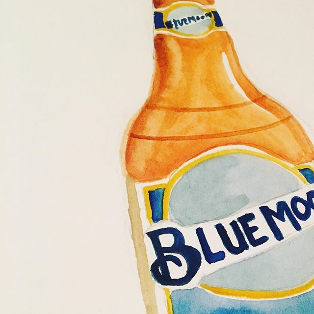 More bottle illustrations! . . . . . #illustrator #illustration #designer #design #package #packagedesign #beer #bluemoon #watercolor #gouche