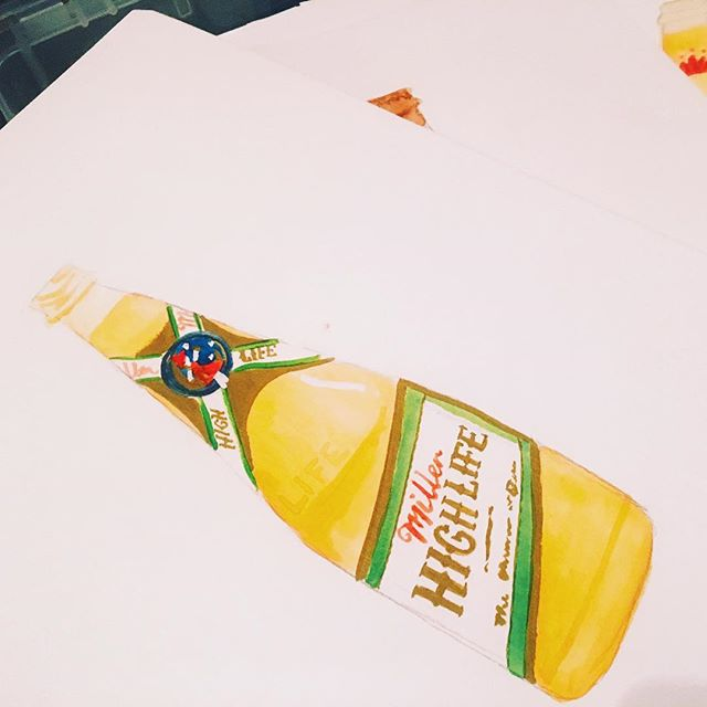 More bottle illustrations! . . . . . #illustrator #illustration #designer #design #package #packagedesign #beer #miller #watercolor #gouche