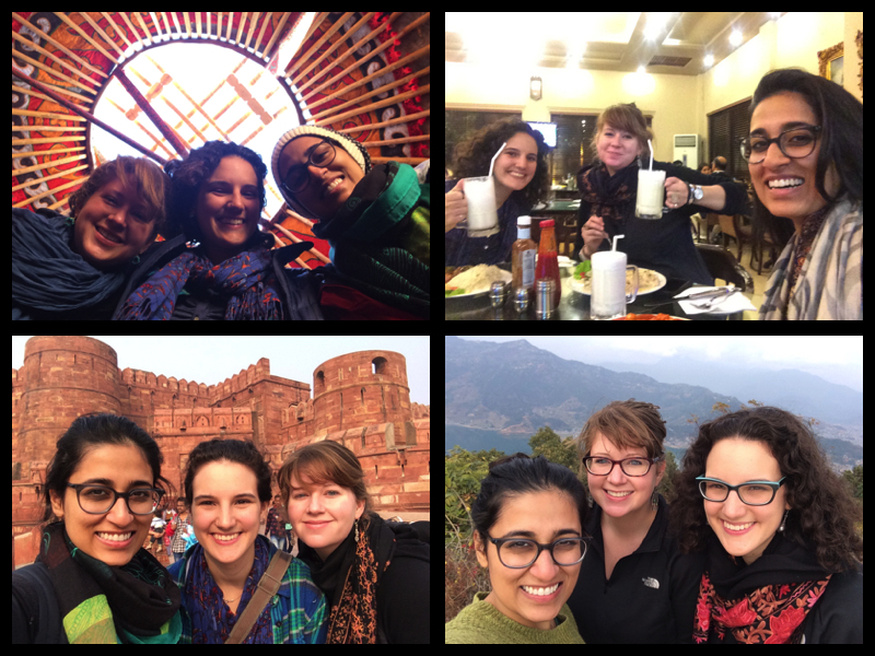 A selfie from every country we went to! Starting in the top left going clockwise: Kyrgyzstan, Pakistan, Nepal, India.