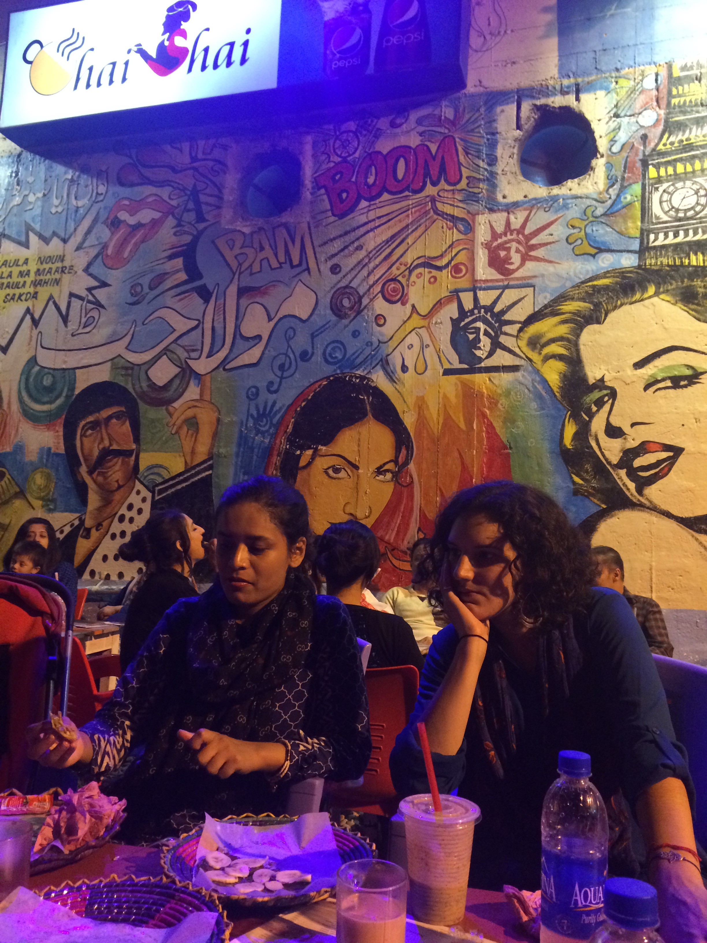 Hanging out at an outdoor cafe called Chai Shai in Karachi