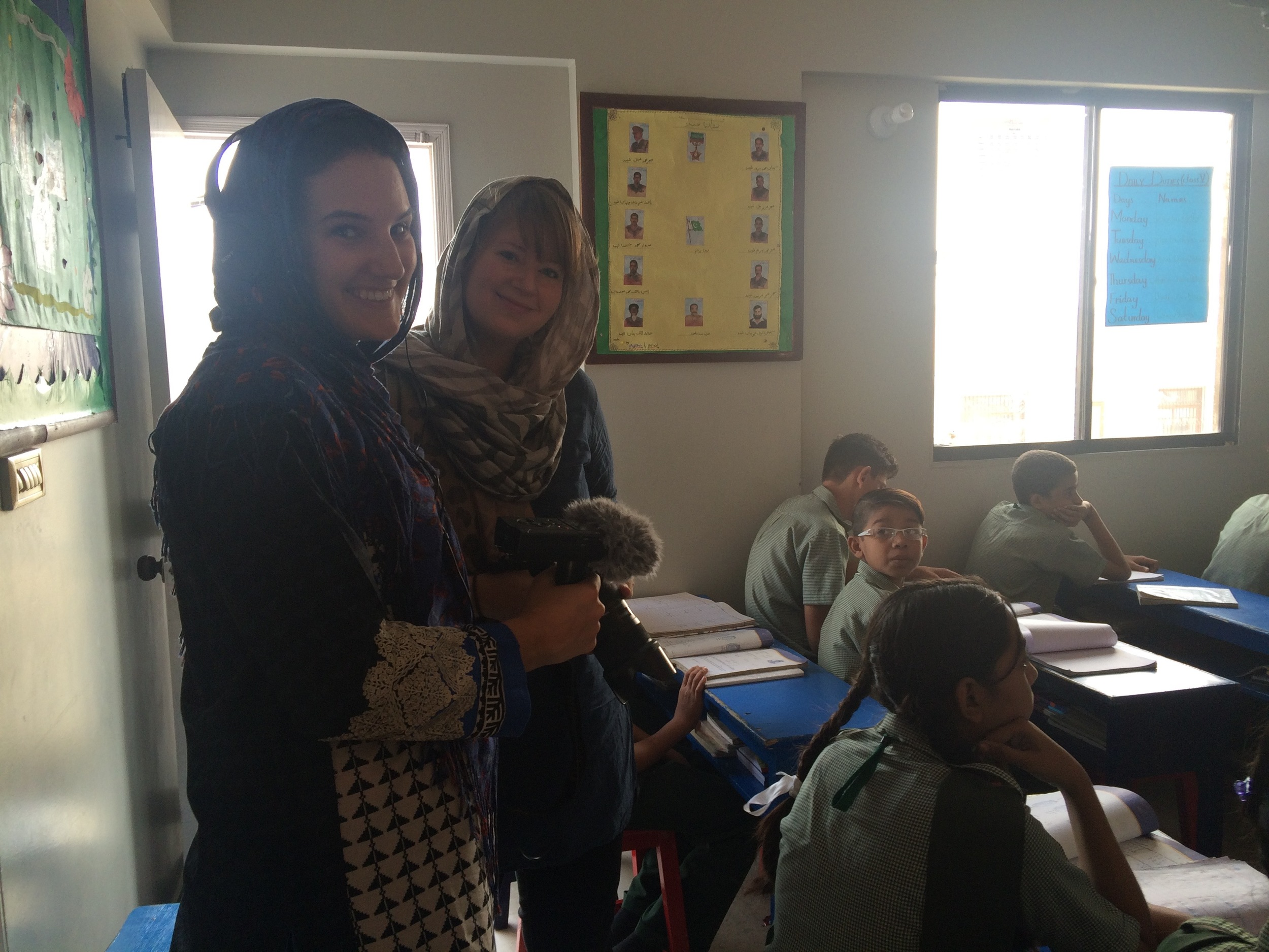 Olivia and Jen at one of the first schools we visited in Karachi