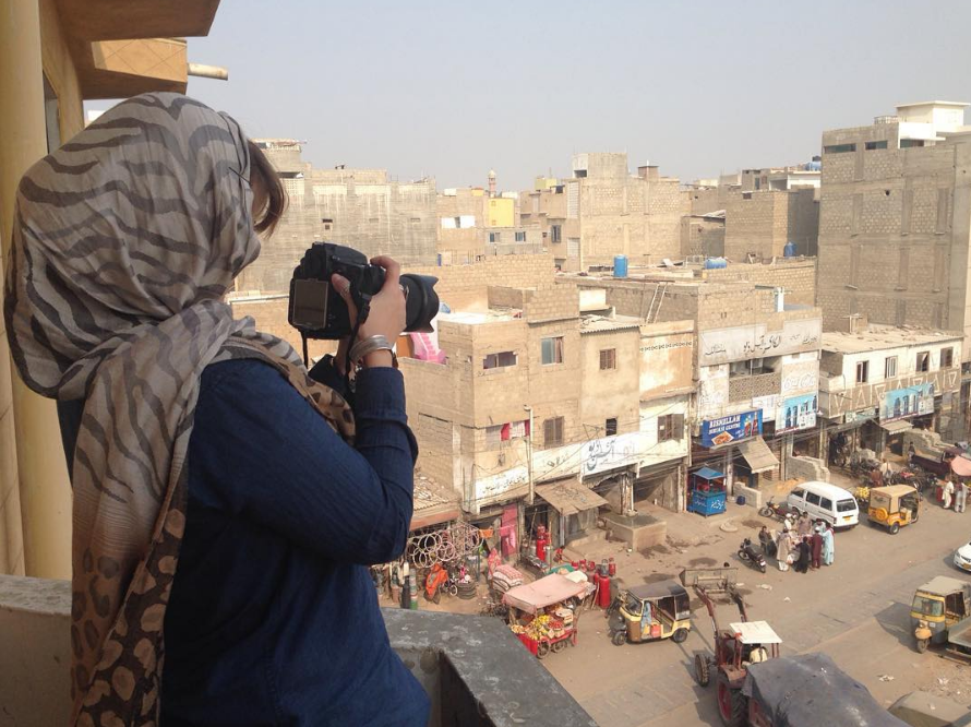 Filming from a balcony in Karachi