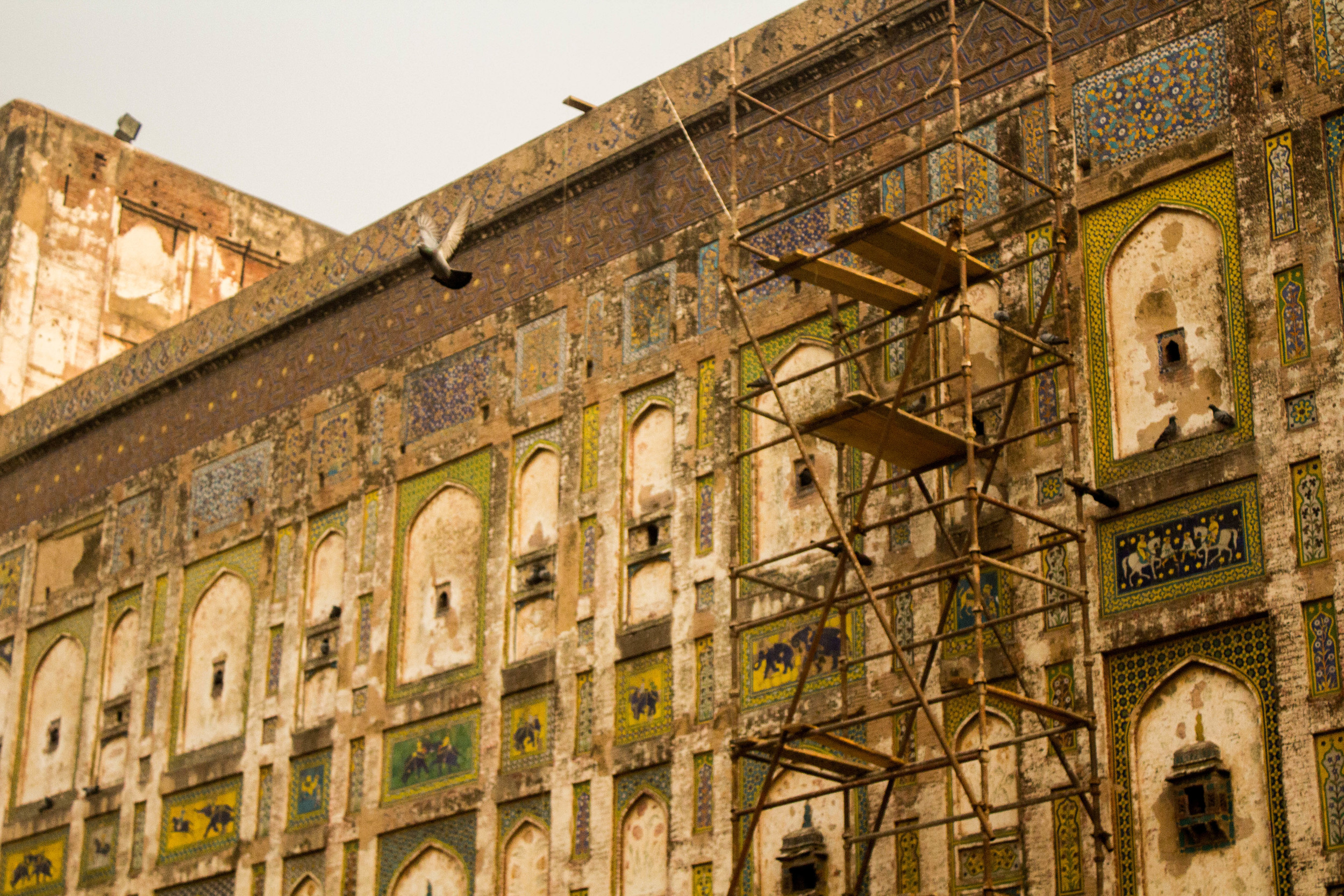 Restoration of mosaic and mural work is being undertaken in Old Lahore by European embassies, the Aga Khan Foundation, UNESCO, and other groups.