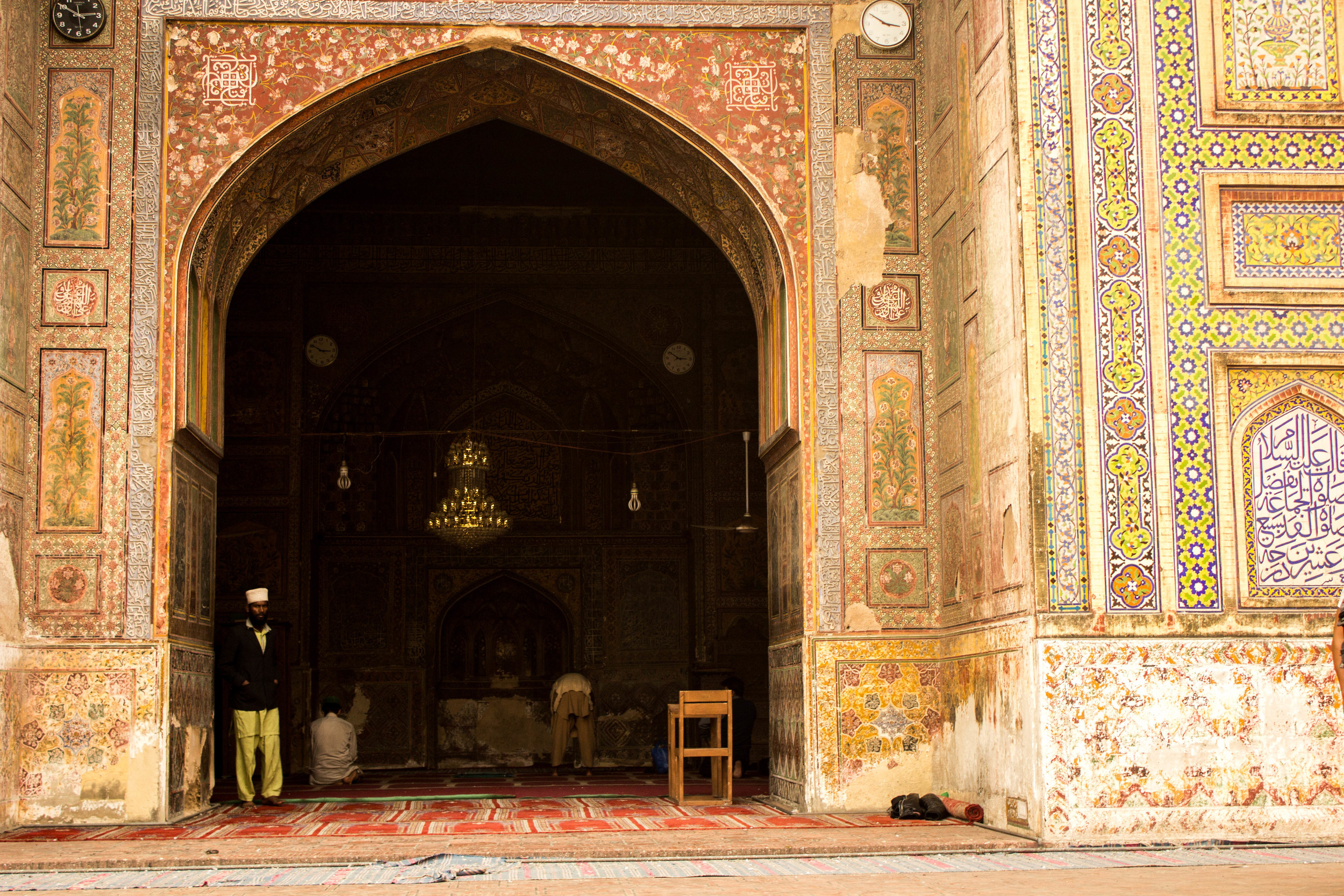 The Wazir Khan Masjid is known for its  faience tile work, seen throughout the masjid (mosque) complex.
