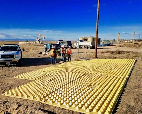 Energy Production Access Road trackout mats in Weld County, CO