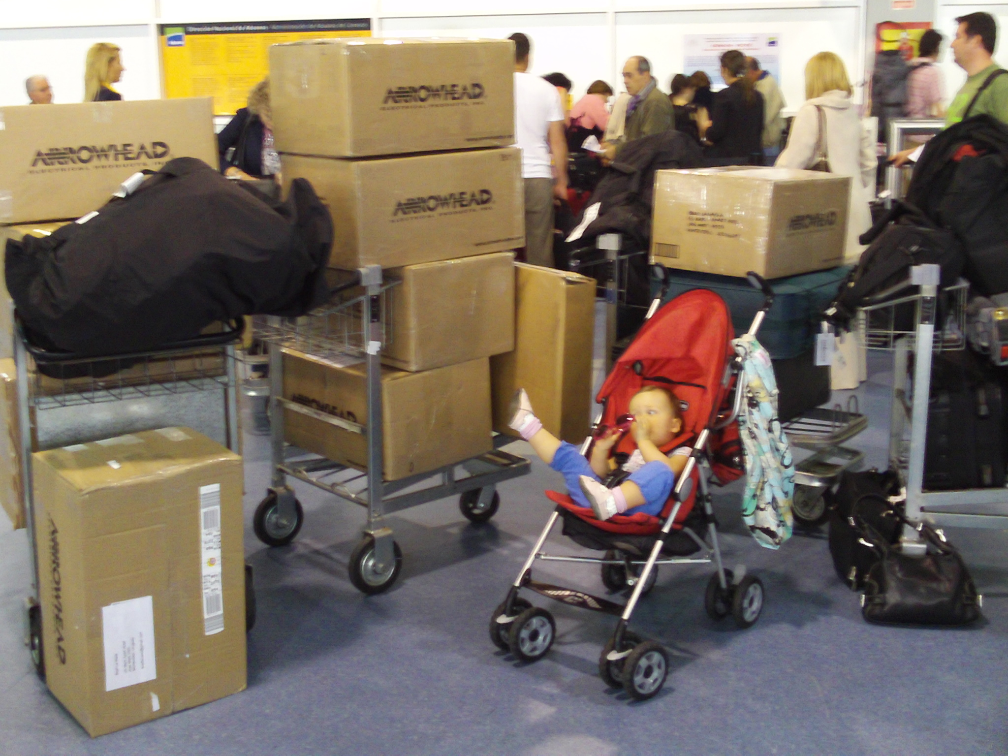Toddler G and all of our STUFF arriving in Montevideo Uruguay in March 2009