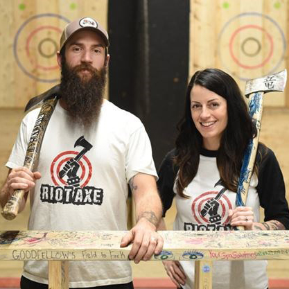 """Riot Axe - all sessions    https://www.riotaxe.com   """"We believe Riot Axe is the best axe throwing experience around - because we truly love what we do! While throwing axes is incredibly fun and a little addictive - what really drives us is how we're able to use axe throwing as a way to spread happiness and build community."""""""