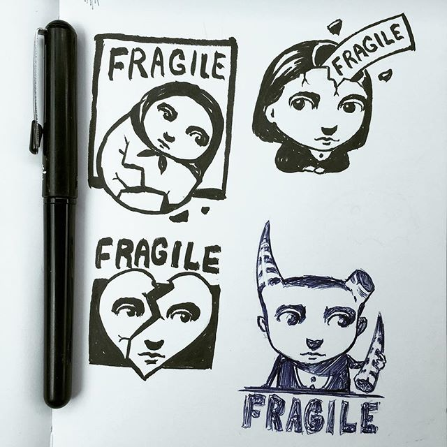 "I am going  to carve a ""fragile"" stamp for use on some of my packages. I'm still trying to settle on an idea. Here are some quick sketches I've started. - #wip  #fragile #stamp #inkart #leuchtturm1917 #sketchbook  #newcontemporary #newcontemporaryart #lowbrow #lowbrowart #popsurreal #popsurrealism  #instaart #thomasascott"