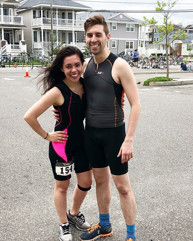 WOOOHOOOO we had so much fun! First triathlon in the books with my favorite person, @iangregoryhill ! Special shoutout to my bestie, @amandapaige122 for helping prep with her amazing class, and @brianflevine for spreading the love and so much tri-knowledge to a newb like me!! And of course to my awesome parents for all of their support and love 💕 #triathlon #duathlon #swimbikerun