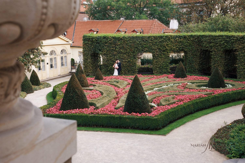 svatebni-fotografie-novomanzelu-pred-zahonem-ve-vrtbovske-zahrad