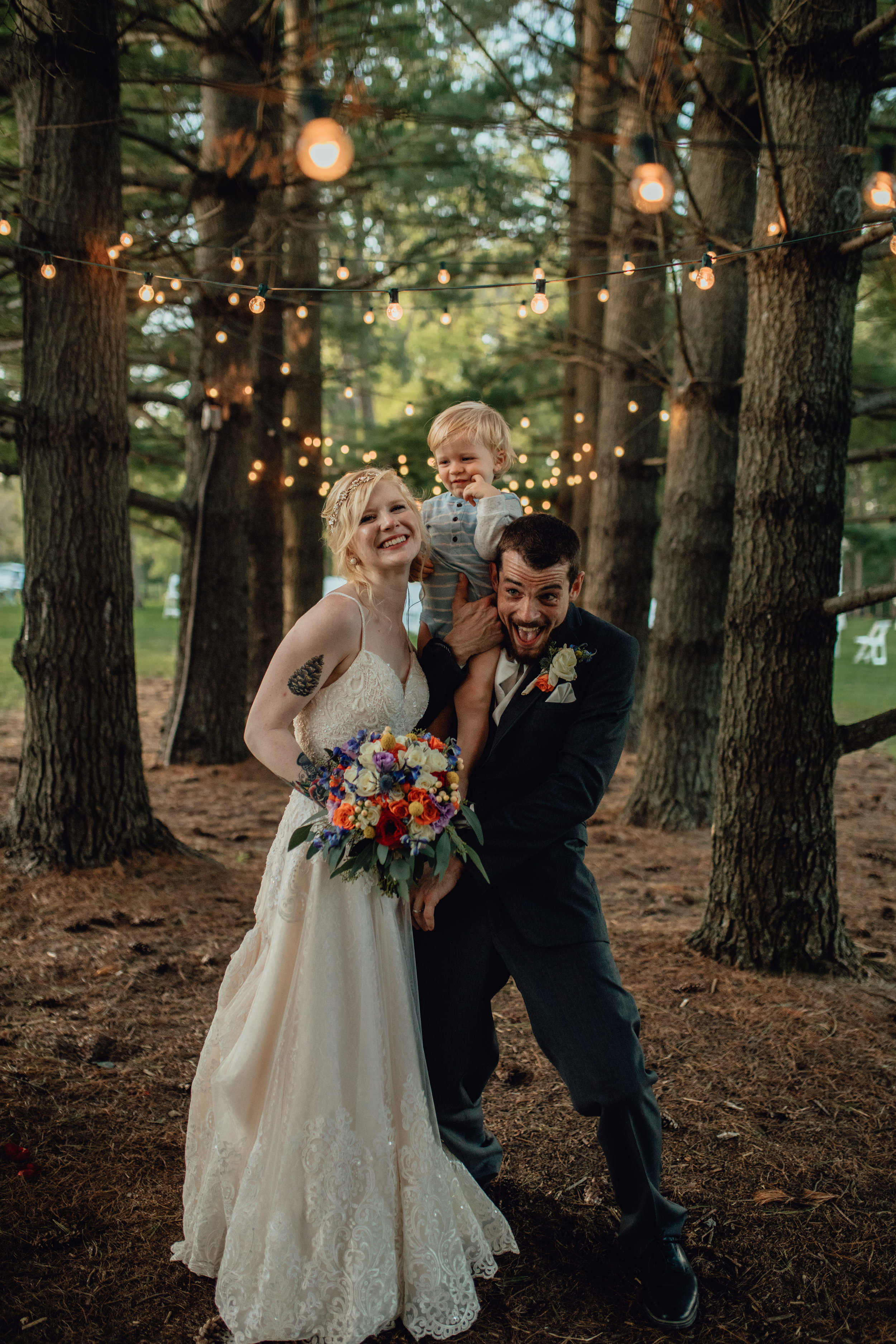 bride and groom portrait at oak hill weddings path of pines