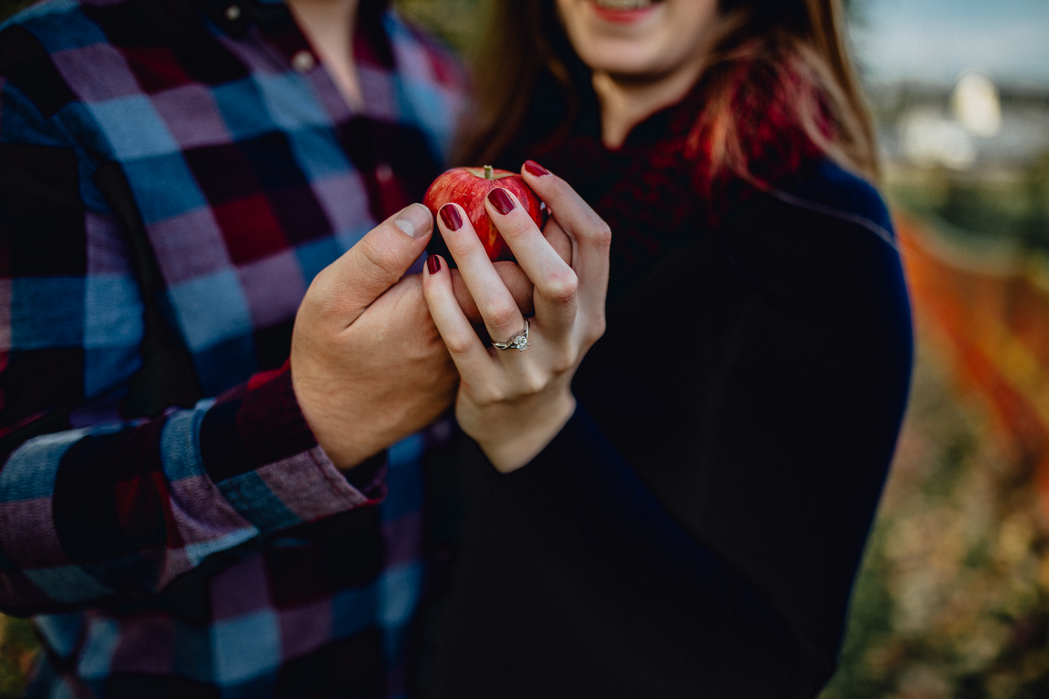 ENENGAGEd-couple-holding-apple-in-apple-orchard.jpgGAGEd-couple-posing-in-apple-orchard.jpg