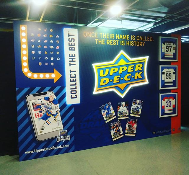 Congratulations to all the players at the #nhldraft over the weekend! And we hope the public enjoyed the @upperdecksports zone, with the custom display wall we built and installed.
