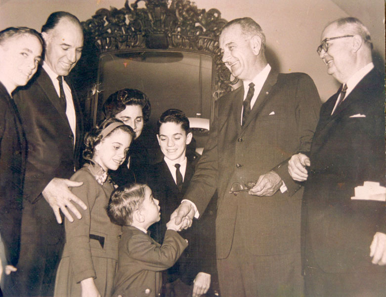 Blake Purcell was born in 1958 and his father, Graham Purcell Jr. was elected to the 13th District of the US Congress for Texas in 1962. Here Vice President Johnson is shaking Blake's hand after Graham Purcell was sworn into office on the floor of the US House of Representatives.