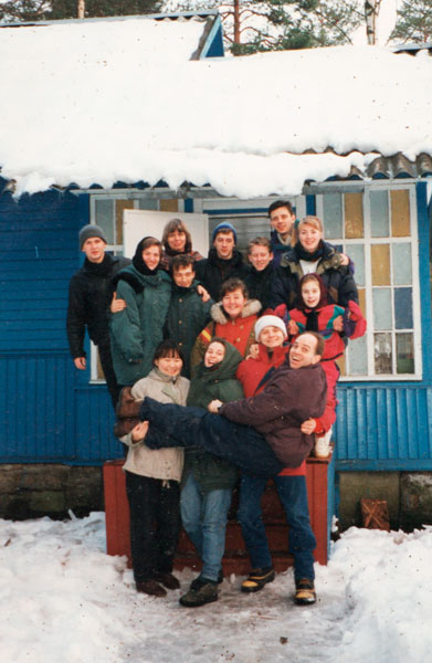 On a student retreat in 1995 in Komarovo when future married two couples, Andre and Jenya Zeekov, holding Blake, and Alexander and Natasha Firsanov, back right, were already courting/dating. These two men were the first ruling elders of the church they planted with Blake in 1999.