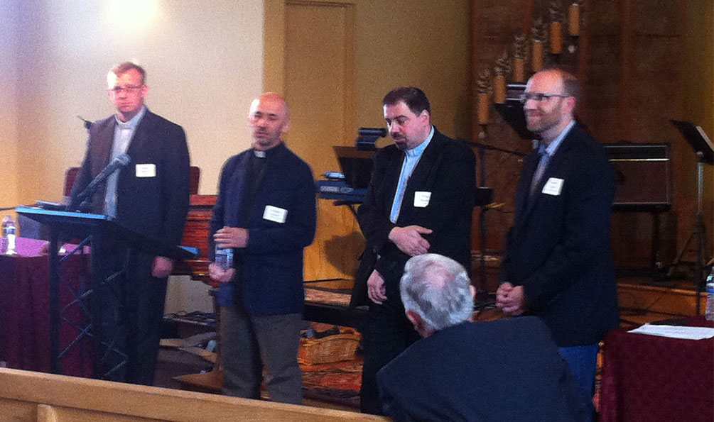 """SRS trained pastors Evegeni Kruzhkov, Kazakhstan, Ruslan Moroz, Vladivostok, and Timur Anickin, Latvia, share their testimonies on Мау 14, 2015 at а voluntary meeting with members of the Pacific Northwest Presbytery of the РСА. AII were raised in Soviet-atheistic homes and came to Christ as other Russian Christians and missionaries shared their faith and their lives with them. """"Let your light so shine before men that they may see your good works and give glory to your Father who is in heaven  (Matt. 5:16) """" is how Christ brought them to Himself."""