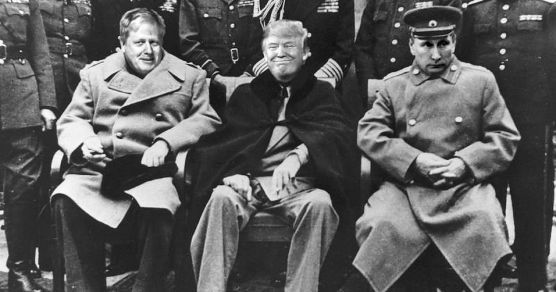 This slightly doctored photo illustrates the reality that America and President Trump must, in public, deal respectfully with world powers until we are prepared physically to humble them. In the case of Russia, that is never.