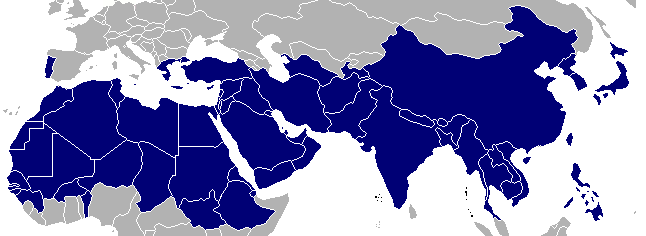 A 2017 map of the regions of the world least reached by the Gospel of Christ   By  Danthemankhan at  English Wikipedia - July 18, 2006., Public Domain.