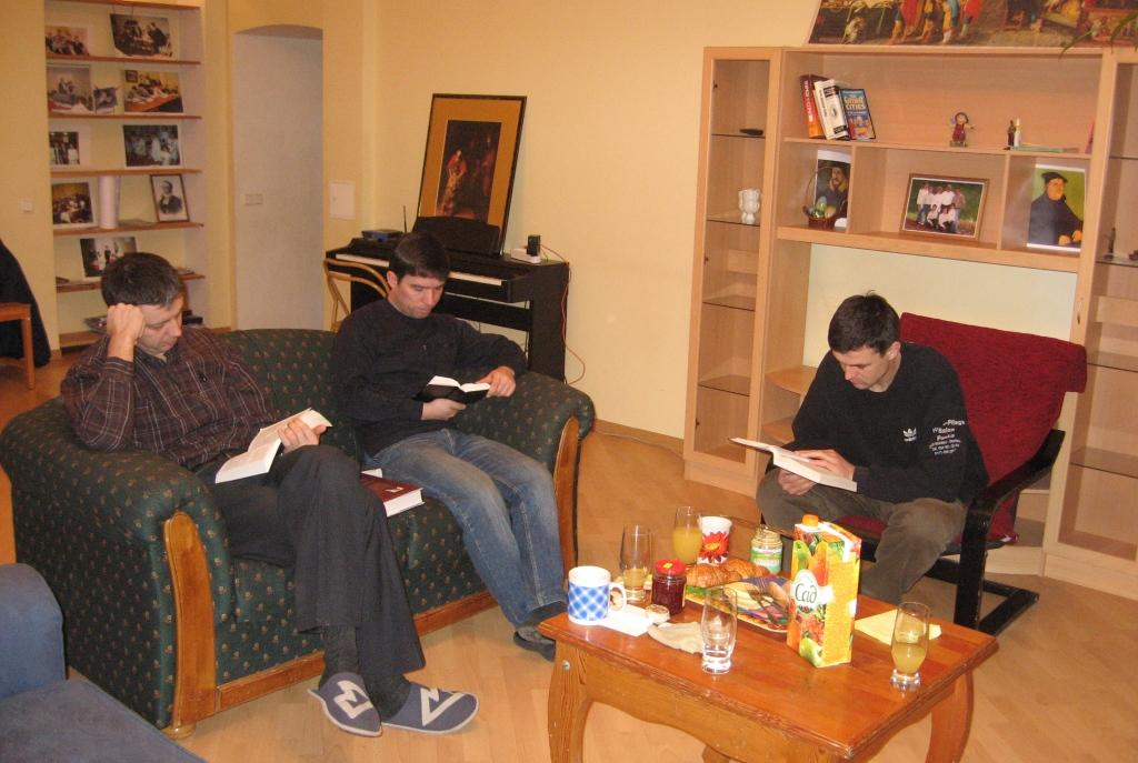 Early morning Bible Study for men in the seminary.