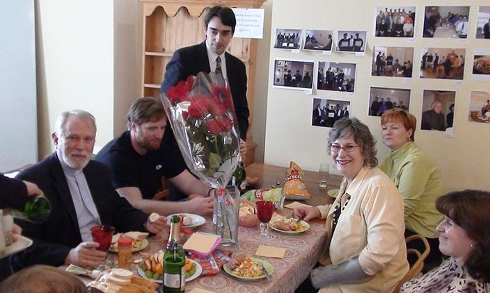 Greeting Jim and Brenda Jordan at seminary lunch.