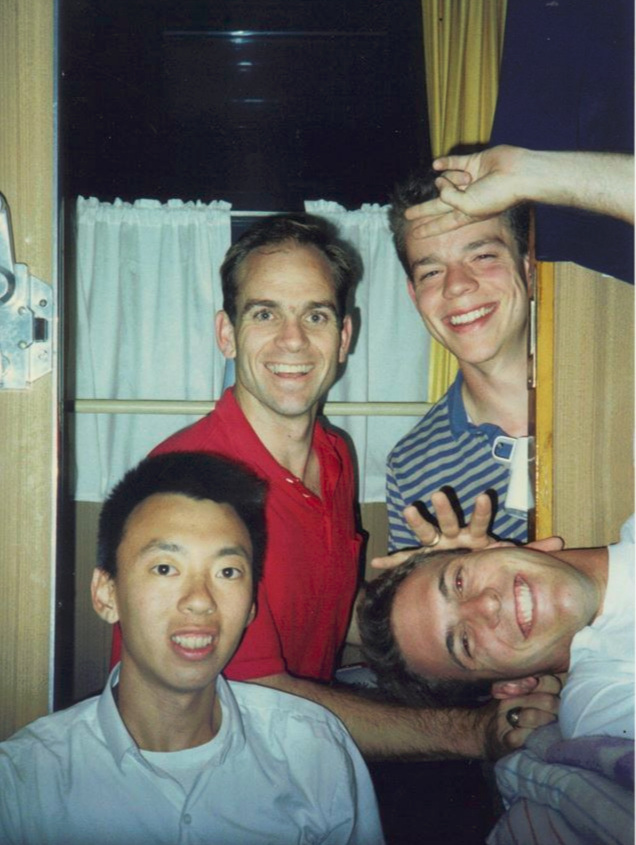 Blake Purcell with Texas A&M students onboard a train in the USSR, 1989.