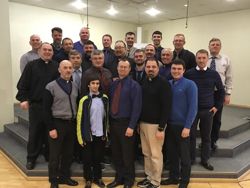 Most of our Russian ministers at the Intensive Course in St. Petersburg, March 11-23, 2019. We had 28 men total, about 2X's more than usual. The first week courses were, Romans, by Evgeni Krudzkov, and The History of Church and State Relations, by Paul Edgar. The second week, Mike Rasmussen taught 15 hours on the Psalter, and I taught 15 hours on Thunder From Heaven: Preaching the Word of God.