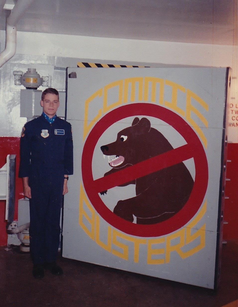 Lt Peter Colins, down in his launch control facility, otherwise know as a missile silo, in South Dakota in 1991. Can you tell from the picture where their missile was aimed?