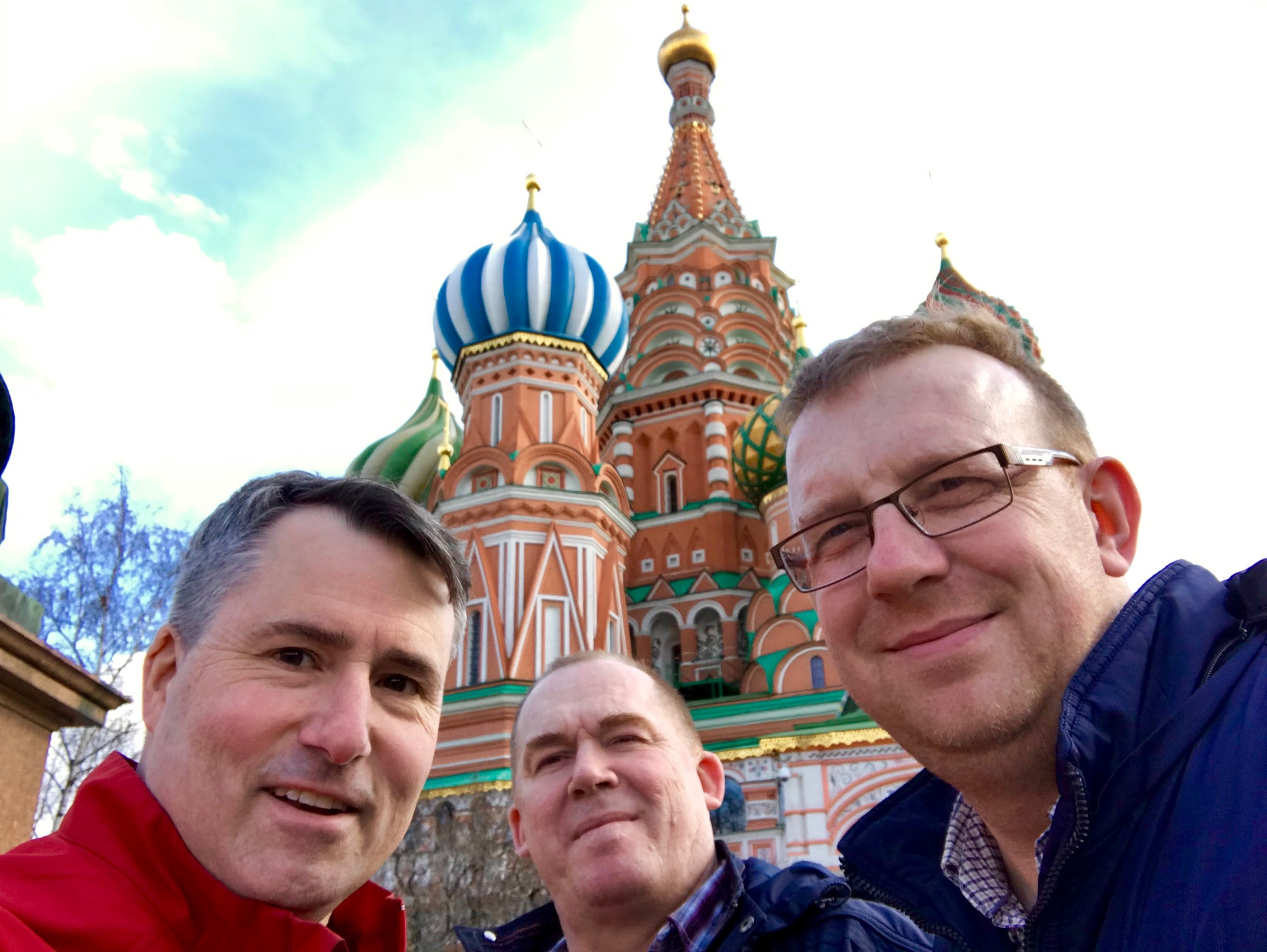 Briarwood's Bryan Wintersteen (left) with HopeRussia church planters Yuri Levchenko (center) & Evgeni Kruzhkov(right) on Red Square in front of St. Basil's Cathedral in March, 2019.