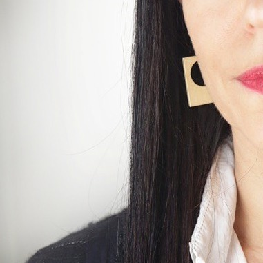 New shapes for the women who shaped us. Order by May 3 in time for Mother's Day. Pictured: Sheet Earrings in a light brass finish. #mothersdaygift #mothersdayjewelry