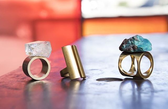 A ring for every occasion, featured in the Spring issue of @designlamag @latimes. From left: Heavyweight Boy Band with Pink Topaz, Split Ring in light finish, Heavyweight Two Way Circle Ring with Gem Silica. Read the article at our link in bio. Thank you @michaelwollaeger @jessnritz @johnellisphoto. #robincottle #madeinla #moderndesign #marmolradziner #marmolradzinerjewelry