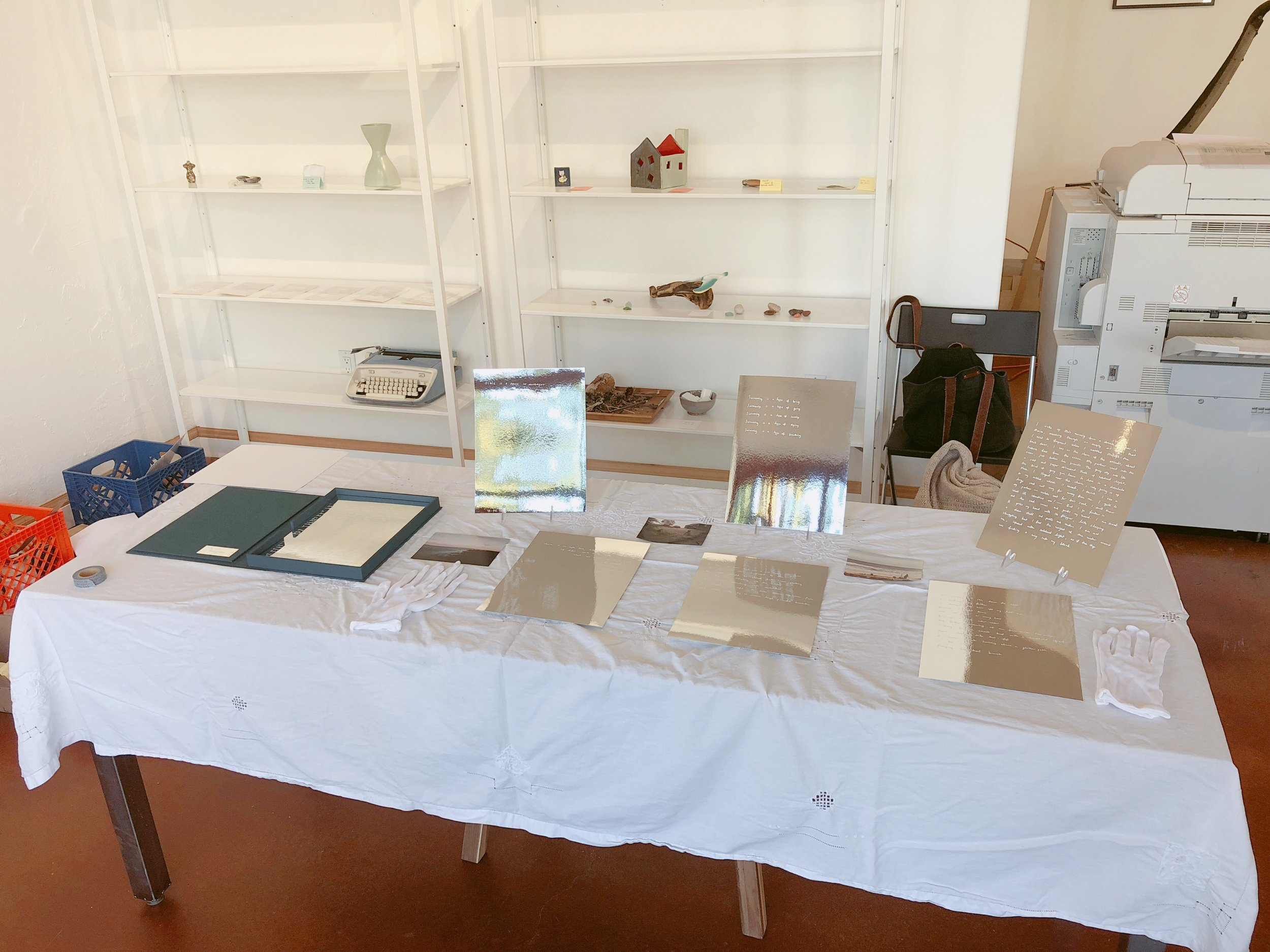 preparing for exhibition at The Working Library