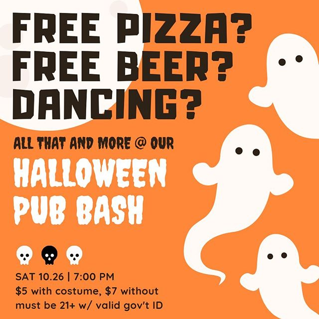 GRYPHON'S PUB HALLOWEEN IS HERE! The party will be on Saturday, October 26th at 7pm, and yes of course dancing will be involved. Get ready to eat copious amounts of candy and there will be free beer and pizza on a first come first serve basis. There's a $5 cover for the cool kids who wear a costume and $7 for those who don't. Costumes should be appropriate with no weapons and no nipples showing (men, that's you too). This is the biggest party of the year with all three floors open to the public LETSGOOOO #spookyhalloween