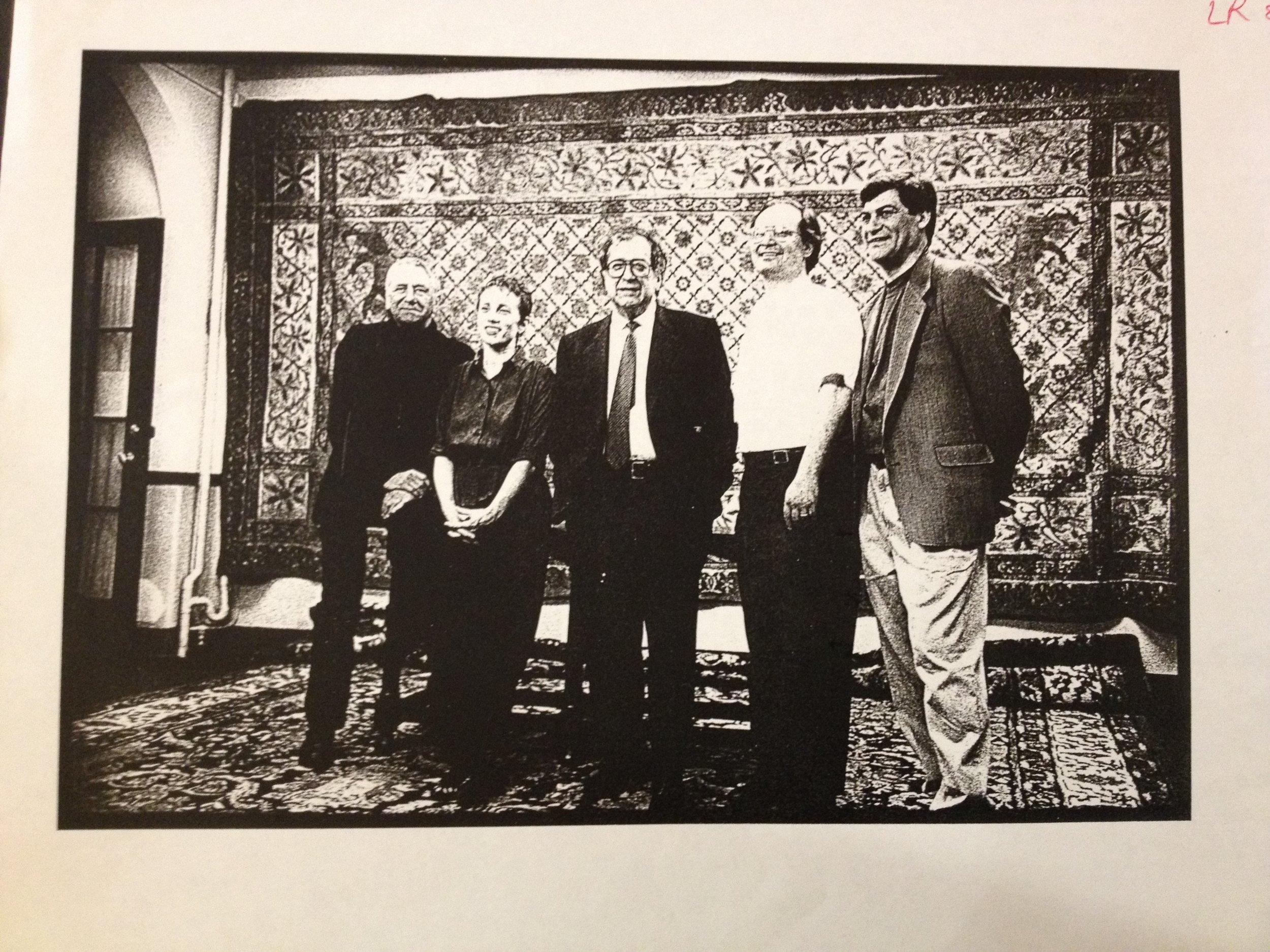 Bernard Rands, Linda Reichert, Luciano Berio, Jan Krzywicki, Robert Capanna, circa 1993 at Settlement Music School