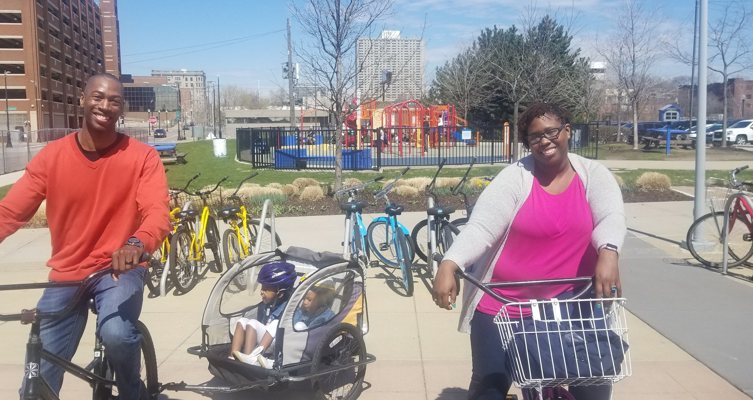 The whole family can experience the Riverwalk and Dequindre Cut with rentals from Wheelhouse Detroit  Now Open Friday, Saturday, & Sunday...Open 7 Days a Week Beginning May 10.